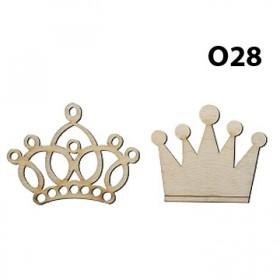 Lazer Kesim Ahşap Obje Kral ve Kraliçe Tacı O28