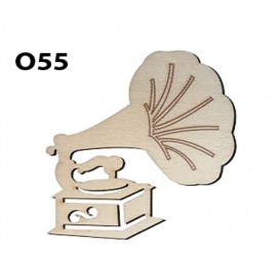 Lazer Kesim Ahşap Obje Gramafon O55