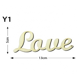 Lazer Kesim Ahşap Obje Yazı Love Y1