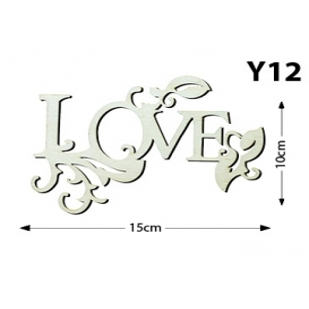 Lazer Kesim Ahşap Obje Yazı süslü Love Y12