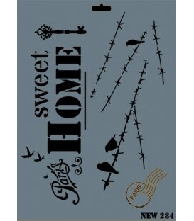 Rich New Seri N-284 Sweet Home Stencil 35x25cm