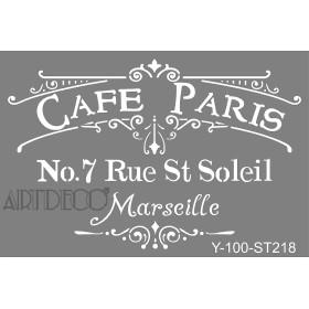 Artdeco Stencil A4  21x29cm Cafe Paris ST218