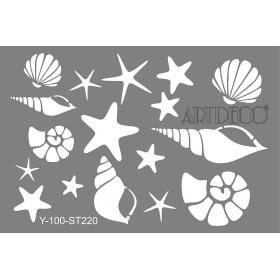 Artdeco Stencil A4  21x29cm Deniz Kabukları ST220