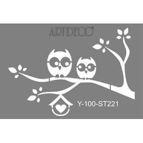 Artdeco Stencil A4  21x29cm Baykuşlar