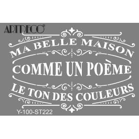 Artdeco Stencil A4  21x29cm Güzel Evim ST222