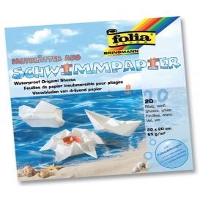 Folia Su Geçirmez Origami Katlama Kağıdı 20x20 cm. 20 Tabaka Beyaz