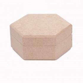 Altıgen Kutu Küçük Ahşap Obje 13x13cm