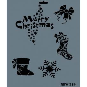 Rich New Seri N-219 Merry Christmas Yılbaşı Stencil 35x25cm