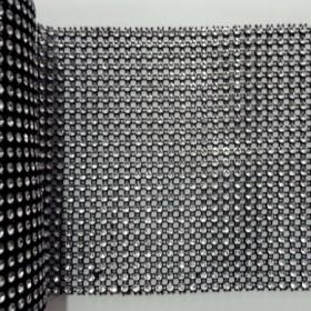 1 MT - Siyah Gümüş Stras Çukur 24'lü Şerit