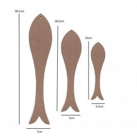 3'lü Uzun Balık MDF Ahşap Obje