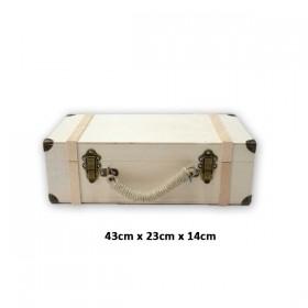 Valiz Çanta Küçük Boy Ahşap Masif Obje (43x23x14)
