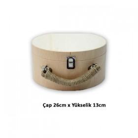Şapka Valiz Çanta Küçük Boy Ahşap Masif Obje (26x13)
