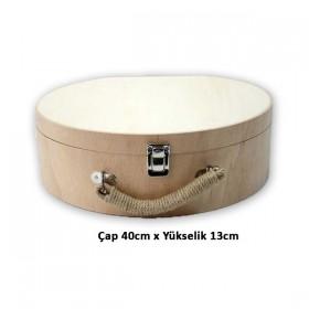 Şapka Valiz Çanta BüYüK Boy Ahşap Masif Obje (40x13)