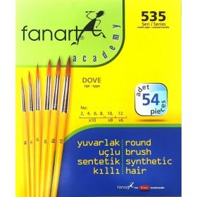 Fanart Academy Yuvarlak Uç Fırça Seti 54'lü SET