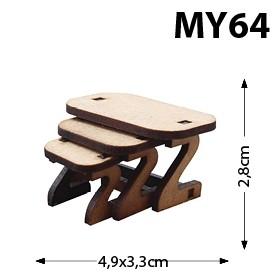 3'ü Zigon Sehpa Minyatür Ahşap Obje MY64