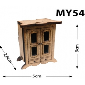 Ayaklı Dolap Sehpa Minyatür Ahşap Obje MY54