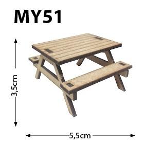 Piknik Masası Minyatür Ahşap Obje MY51