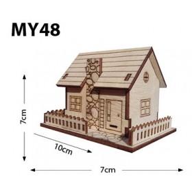 Bacalı Çitli Ev Minyatür Ahşap Obje