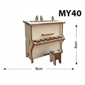 Piyano Oturaklı Minyatür Ahşap Obje MY40