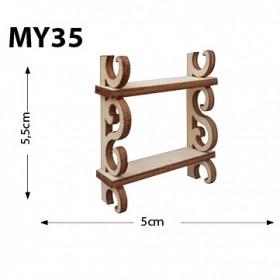 2 Katlı Terek Raf Minyatür Ahşap Obje MY35