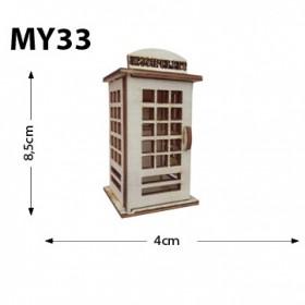 Telefon Kulübesi Minyatür Ahşap Obje MY33