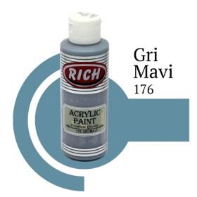 Rich 176 Gri Mavi 130 ml Akrilik Boyası