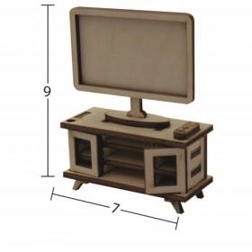 Plazma TV + TV Sehpası Minyatür Ahşap Obje MN 59
