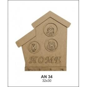 Home Baykuşlu Anahtarlık/Askılık Ahşap Obje 32X20cm