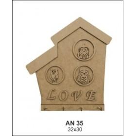 Love Baykuşlu Anahtarlık/Askılık Ahşap Obje 32X30cm