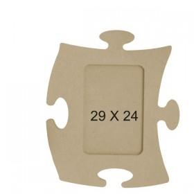 Puzzle Resim Çerçevesi Ahşap Obje 29x24cm