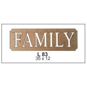 Family Levha Ahşap Obje 35x12cm