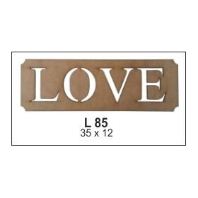Love Levha Ahşap Obje 35x12cm
