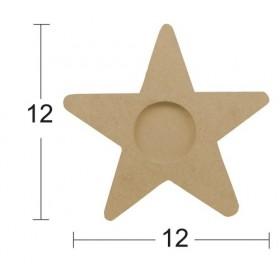 Yıldız TeaLight/Mumluk Ahşap Obje 12x12cm