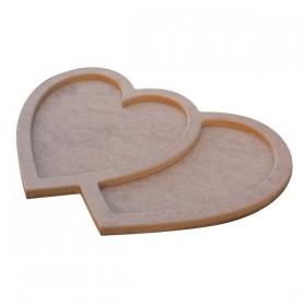 İki Kalp Bir Olur Tepsi 40x27cm Ahşap Obje