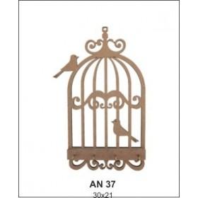 Kuşlu Kafes ANAHTARLIK Ahşap Obje