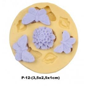 Silikon Kalıp  Kelebekler ve Çiçek P-12