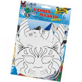Folia Boyanabilir Karton Maske 6'lı Hayvanlar Alemi