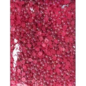 Kırmızı Janjanlı Yuvarlak Yarım Boncuk 8mm 100 gr