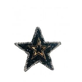 Yıldız - Siyah- Ütüyle Yapışan Taş