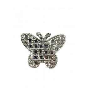 Kelebek - Gümüş- Ütüyle Yapışan Taş