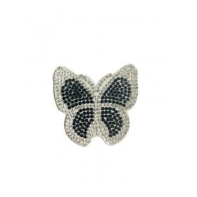 Kelebek - Gümüş Siyah - Ütüyle Yapışan Taş