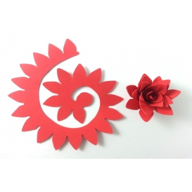 Quilling Spiral Çiçek 12'li Paket KRİZANTEM-KIRMIZI