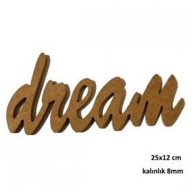 Çerçeveli Harf -DREAM- 25x12cm Ahşap Obje