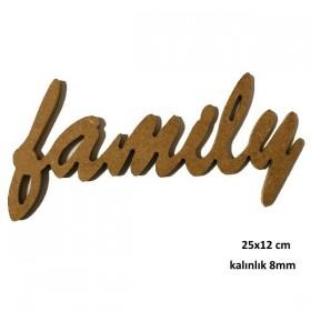 family yazısı 25x12cm Ahşap Obje