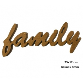 Çerçeveli Harf -FAMİLY- 25x12cm Ahşap Obje