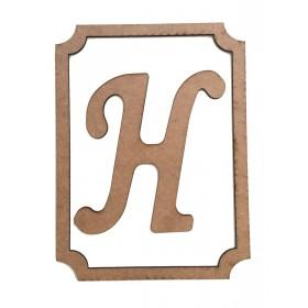 Çerçeveli Harf -H- 30x22cm Ahşap Obje