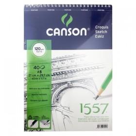 Canson 1557 Eskiz Defteri 120 gr. Üstten Spiralli A5 40 Sayfa