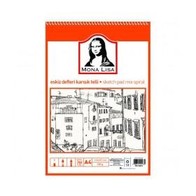 Südor Mona Lisa Eskiz Defteri Karışık Telli A4 50 Yaprak
