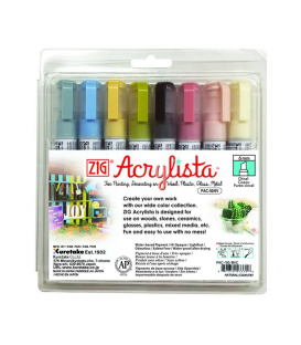 Zig Acrylista Marker 6 mm Kesik Uç 8 RENK SET COUNTRY