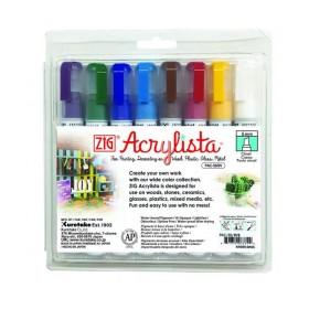 Zig Acrylista Marker 6 mm Kesik Uç 8 RENK SET BASIC